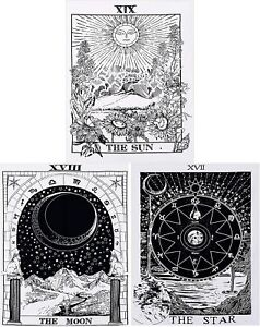 Tarot Tapestry Moon Star Sun Tapestry Medieval Europe Divination Wall Hanging