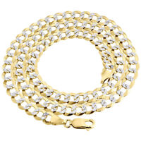 Real 10K Yellow Gold Solid Diamond Cut Cuban Link Chain 7.25mm Necklace 20 - 30""