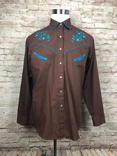 Ely'S Country Charmers Western Rodeo Embroidered Pearl Snap Womens Shirt Size L