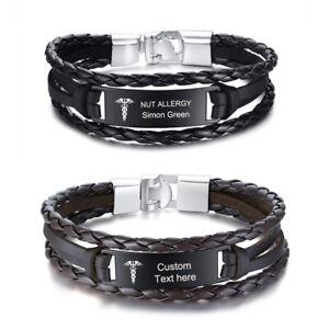 Personalized Medical alert ID Bracelet Braided Emergency Life Saving Wristband