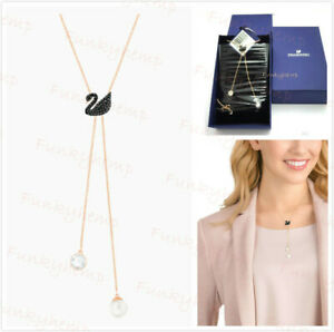 NWT Authentic Swarovski Iconic Swan Y Necklace Rose Gold Plated Pave Crystal