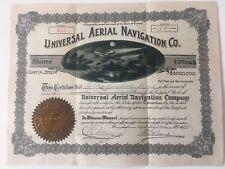 Universal Aerial Navigation Co. 1914 stock certificate G Raymond Nye scripophily