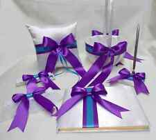 White Purple Turquoise Flower Girl Basket Ring Bearer Pillow Guest Book Pen set