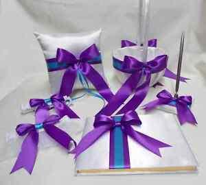 White Purple Turquoise Flower Girl Basket Ring Bearer Pillow Guest Book Pen set