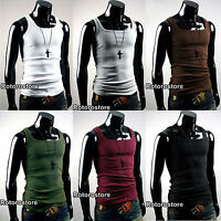 5x SET Mens Slim Fit Sleeveless Tank Top Vest Shirt - XS S M - Gym Active Wear