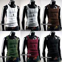 5x SET Mens Slim Fit Sleeveless Tank Top Vest Shirt - XS S M - Gym Active Wear