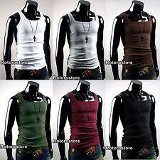 Mens Slim Fit Sleeveless Tank Top Vest Shirt - XS S M - Gym Active Wear