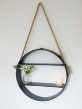 Round Industrial Hanging Rope Shelf Unit Rustic Brown Metal 2 Shelves Storage