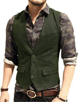 Men's Herringbone Tweed Wool Slim Fit Vest V Neck Waistcoat Casual Tuxedo Vest