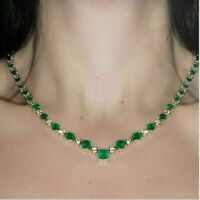 Necklace For Women 22.00 Ct AAA+ Colombian Emerald & Diamond 14K Yellow Gold Fn