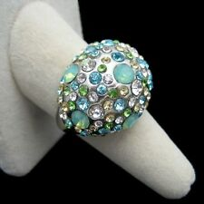 Vintage Blue Green Rhinestones Cocktail Ring Large Dome Chunky Sz 9.5 Classy