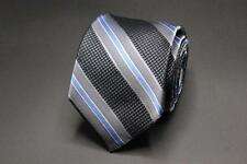 NWT TED BAKER LONDON Silk Tie. Silver and Gray with Blue Stripes.