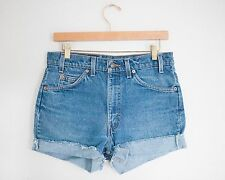 Vintage LEVI'S Medium Wash High Waisted Cut Offs Cuffed Jean Denim Shorts - 30W