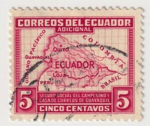 1938 Ecuador - Map of Ecuador - 5 C Tax Stamp (b)