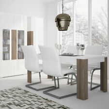 Toronto Modern White Home Living Dining Room Table Furniture 160cm San Remo Oak