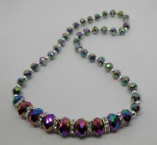 Rainbow Faceted Graduated Crystal Necklace with Magnetic Clasp