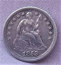 U.S. 1853 SEATED HALF DIME  XF+ DETAILS.