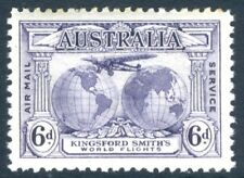 AUSTRALIA-1931 Kingsford Smith 6d Violet with Re-Entry Sg 123a LIGHTLY M/M