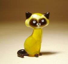 "Blown Glass ""Murano"" Art Figurine Animal Small Yellow Kitten CAT"