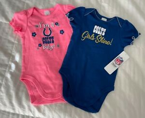 Two (2) Indianapolis Colts Baby Girls Short Sleeve Bodysuits 6-12 Months