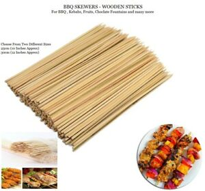 New Bamboo Skewers Sticks 100pcs For BBQ Kebab Fruit Wooden Sticks 10 or 12 Inch