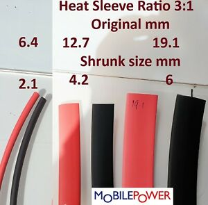 Heat Shrink Sleeve 3:1 Ratio Sleeving Electric Tube cable Red, or Black,