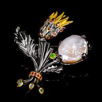 Handmade Natural Baroque Pearl 925 Sterling Silver Brooch /NB07803