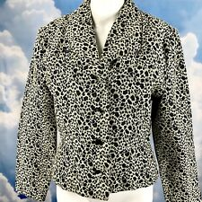 Snow Leopard Jacket Blazer Animal Print Full Lined 8 abalone buttons Vintage USA