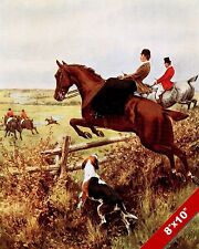 A WOMAN ON THE FOX HUNT HORSE FOXHUNTING HUNTING ART PAINTING REAL CANVAS PRINT