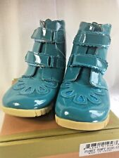 LIVIE & LUCA NIB size 5,10 or 12 Floret Turquoise Patent Leather Boots Sparkle