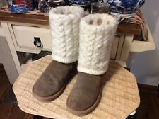 UGG Australia Womens Sz 37/ US 6 Brown Detachable' Boot Removable Knit Overlay