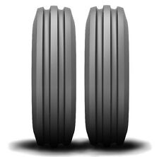 Two 4.00-8 Deestone 3-Rib Front Garden Tractor Tires & Tubes fits John Deere