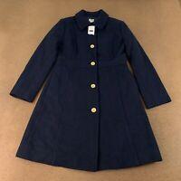 J Crew Women's Size 6 Petite Navy Blue Wool-Blend Lady Coat NWT