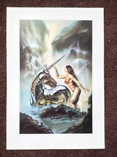 Julie Bell PRINT Fantasy Art Vintage 1994 Erotic Female Unicorn Touch Vallejo