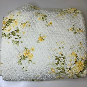vintage bedspread coverlet quilt twin white with yellow floral roses daisy