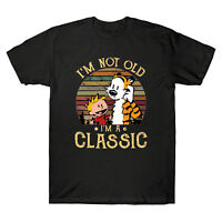 Calvin and Hobbes I'm Not Old I'm A Classic Men's Black T Shirt Cotton Tee