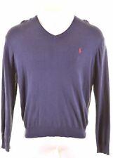POLO RALPH LAUREN Mens V-Neck Jumper Sweater XL Navy Blue Cotton  NS31
