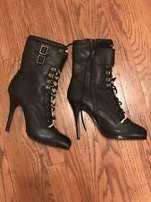 Aldo Size 9.5 M/EU 40 Black Leather Stiletto Heel Sterling Boots/Hidden Platform