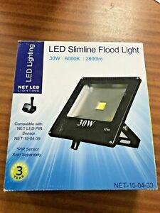 NET LED LIGHTING SLIMLINE FLOOD LIGHT 30W 600K 2800 LUMEN BNWT