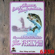 Metal Tin Sign fishing  Decor Bar Pub Home Vintage Retro Poster Cafe ART