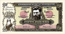 2 X  NED KELLY  NOVELTY  50  POUND BANK NOTES  PRE DECIMAL  COOMBS WILSON