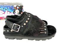 Ugg Biker Chic Womens Sandals Black Studded Feather Fur Slingback