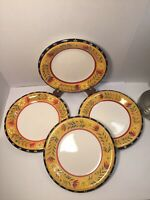 "Doneva by Pier 1 Dinner Plates 10.5""Set of 4 Floral Rim Red Verge Black Trim L61"