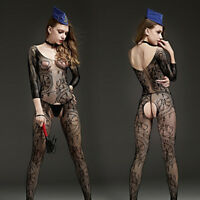 sexy da donna floreale con buco rete Body body lingerie intimo notte