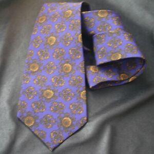 MCM Gold & Purple Scrolling Medallions Silk Tie