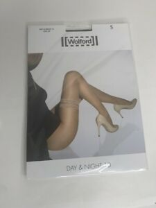 Wolford Day & Night Stay Up 10 Stockings Thigh High S XS Black NWT