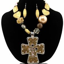 Western Cowgirl Brown Chunky Seed Bead Rhinestone Cross Pendant Necklace Earring