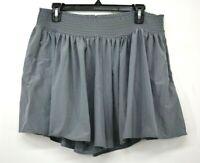 Athleta Womens Gray Elastic High Waist Pleated Stretch Sneaky Flowy Shorts L