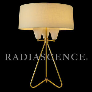 KURT VERSEN ATOMIC SPACE MODERN TRIENNALE TRIPOD BRASS TABLE LAMP LIGHTOLIER