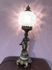 Vintage Underwriters Laboratories Portable Table Victorian Cherub Glass Lamp